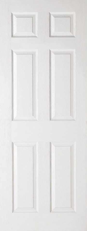 White Moulded Textured Fire Door (6P)